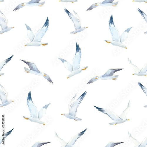 Cuadros en Lienzo Watercolor seagull vector pattern