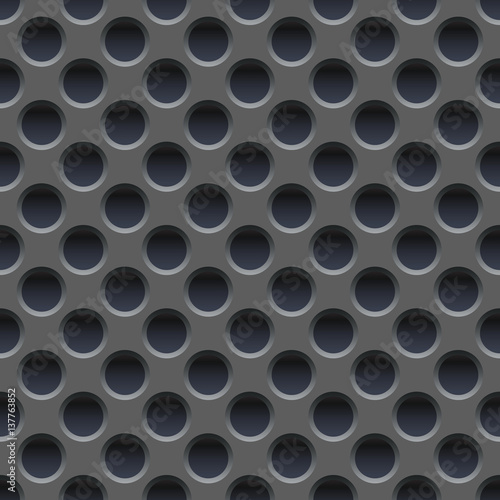 Fototapeta  Seamless vector wallpaper of perforated gray metal plate.