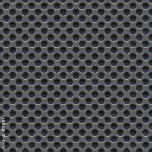 Obraz na plátne  Seamless vector wallpaper of perforated gray metal plate.