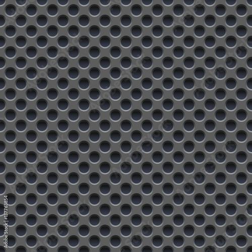 Seamless vector wallpaper of perforated gray metal plate. Slika na platnu