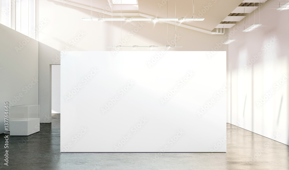 Fototapety, obrazy: Blank white wall mockup in sunny modern empty gallery, 3d rendering. Clear big stand mock up in museum with contemporary art exhibitions. Large hall interior with wide banner exposition template.