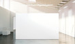 Leinwanddruck Bild - Blank white wall mockup in sunny modern empty gallery, 3d rendering. Clear big stand mock up in museum with contemporary art exhibitions. Large hall interior with wide banner exposition template.