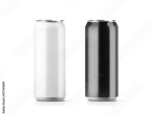 Blank big black and white aluminium soda can mockup set, 3d rendering Canvas Print