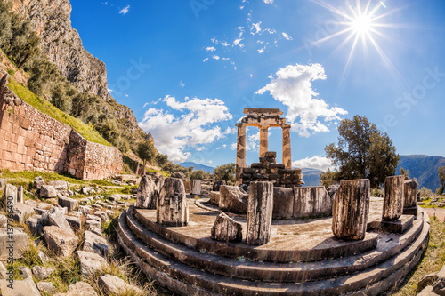 Aluminium Prints Ruins Delphi with ruins of the Temple in Greece