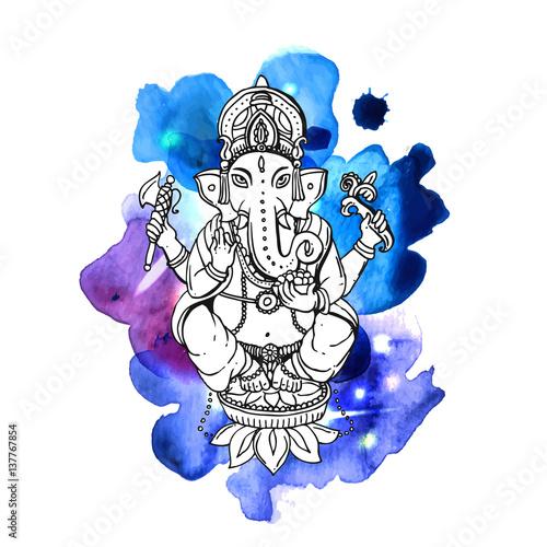 Photo  Vector illustration with Ganesha