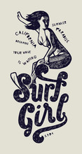 Surf Girl Vintage Print With Beautiful Woman Riding A Wave.