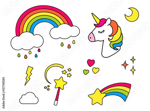Naklejki z jednorożcem, tęczą, gwiazdą, chmurką, magiczną różdżką dla dziewczyn. Fajne elementy dekoracji na białym tle. Wektor komiks kreskówka stylu lat 80.-90. Ładny zestaw odznak mody patche, szpilki