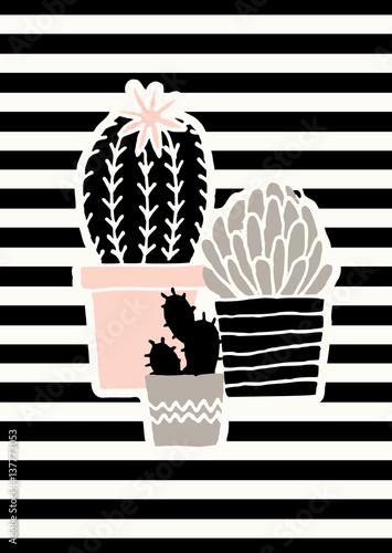 Fotografija  Cute Cacti Poster Design