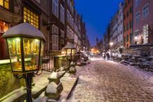 Mariacka Street In Gdansk At Snowy Winter, Poland