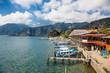 Boats at the dock of Lake Atitlan in Panajachel, Guatemala. Central America.