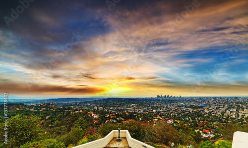 Staande foto Los Angeles Los angeles cityscape at sunset