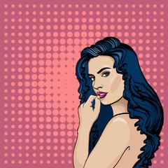 Sexy woman pop art. Fashionable beautiful woman retro comic style. Elegant romantic girl pop art portrait and pink copy space