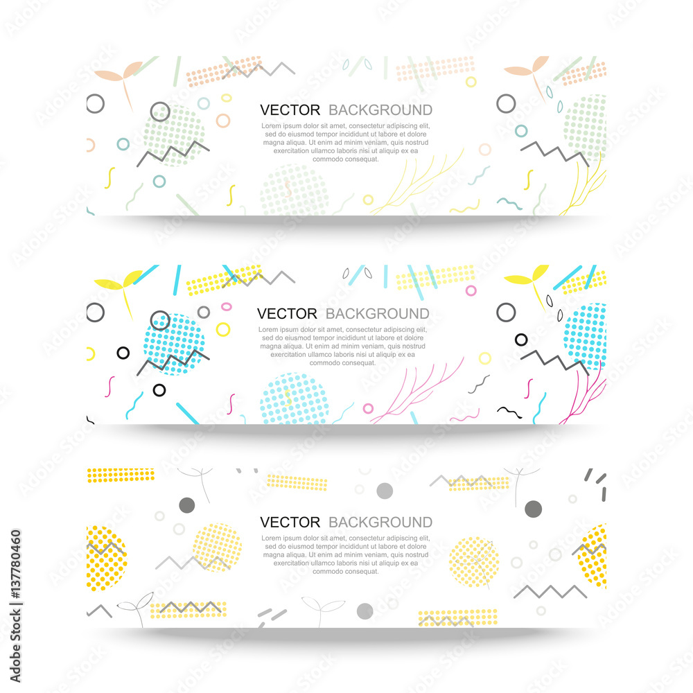 Fototapeta Trendy geometric elements memphis banner. Pattern for tissue and postcards. Spring poster, blue and pink color background.