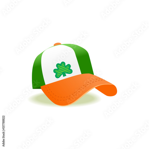 2f20877ea23c0 St. Patrick s Day sign. Freehand drawn cute icon emblem. Irish flag colors.  Traditional holiday celebration decoration. Modern cap with clover.