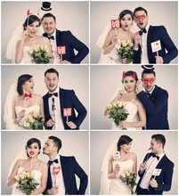 Bride And Bridegroom Making Funny Faces In Photo Booth