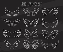 Hand Drawn Angel Wings On Chalkboard