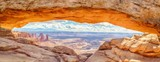 Fototapeta Kamienie - Mesa Arch panorama at sunrise, Canyonlands National Park, Utah, USA