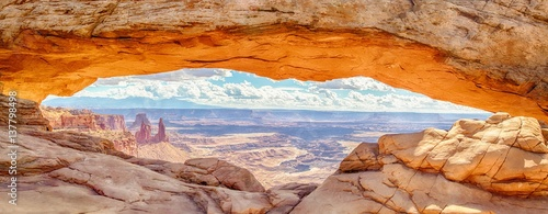 Recess Fitting Central America Country Mesa Arch panorama at sunrise, Canyonlands National Park, Utah, USA