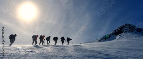 Fotografia kış yürüyüş grubu & dağların zirvesinde yürümek