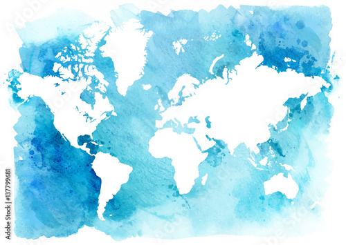 Vintage map of the world on a blue background Poster