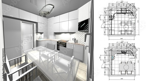 3d Rendering Interior Design A Kitchen With Dimensions Buy This