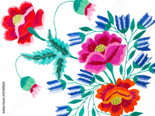 Cuadros en Lienzo Handmade embroidery colors of yarn woven canvas, creative work
