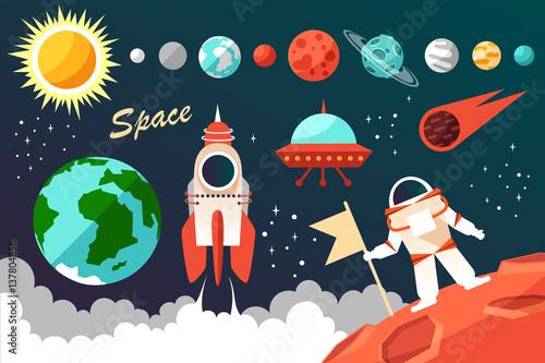 astronauta-planety-i-rakieta-na-tle-nieba