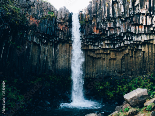 Spectacular waterfall in Iceland - 137806020