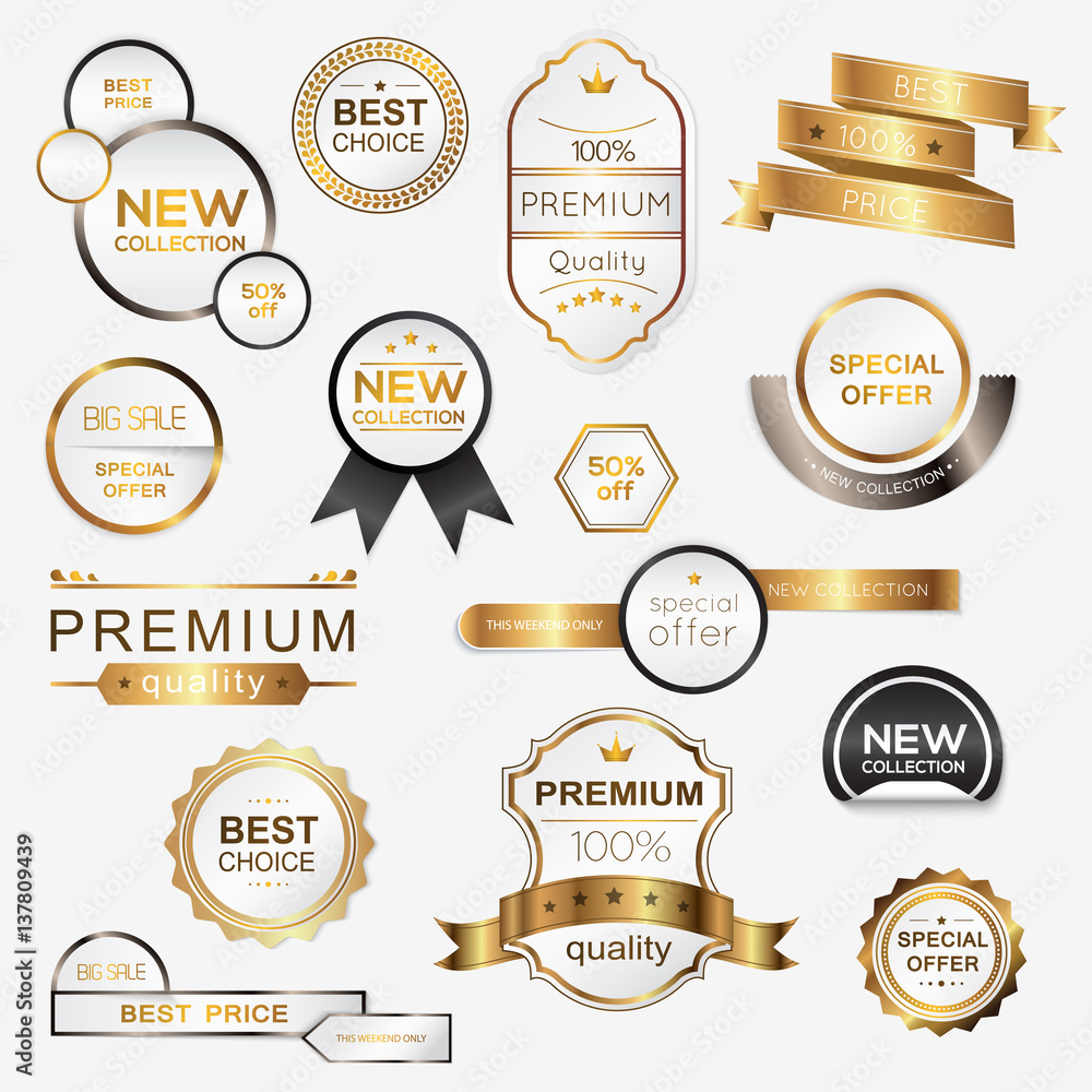 Fototapeta Collection of golden premium promo seals/stickers. Isolated vector illustration.