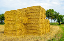 Stacked Straw Bales In Front Of A Large Stubble Field
