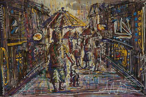 obraz-malarski-przedstawiajacy-ludzi-z-parasolami-w-deszczu