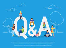 Question And Answer Concept Illustration Of Young People Standing Near Letters And Using Smart Phone, Laptop And Digital Tablet. Flat Women And Men With Letters Symbols Q And A On Blue Background