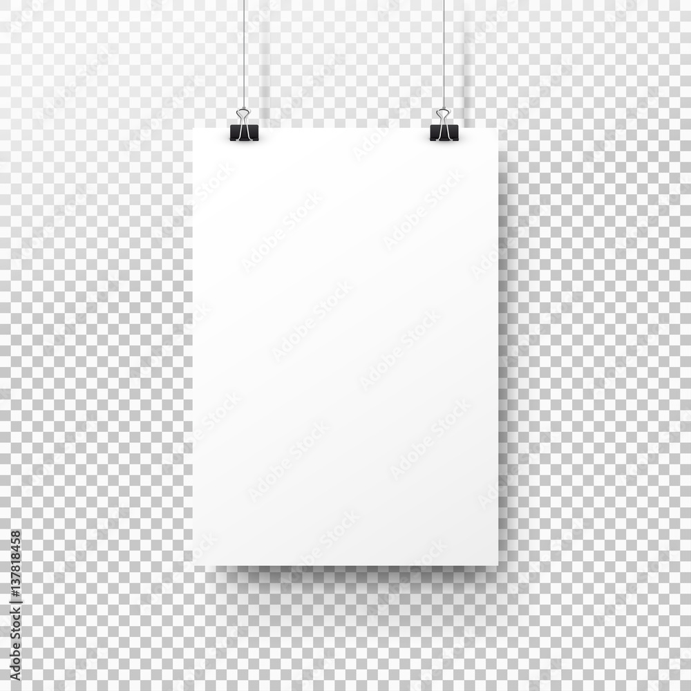Fototapeta White poster hanging on binder. Transparent background with mock up empty paper blank. Layout mockup. Vertical template sheet