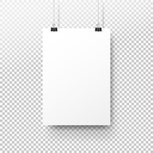 White Poster Hanging On Binder...