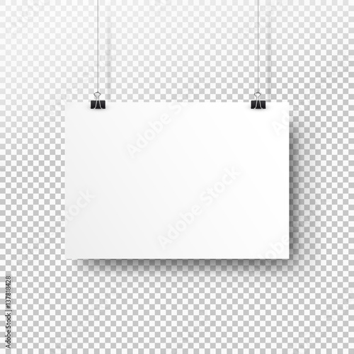 white poster hanging on binder transparent background with mock up
