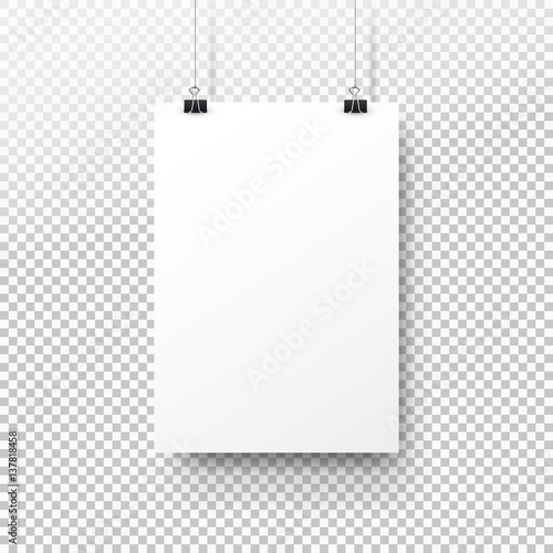 White poster hanging on binder. Transparent background with mock up empty paper blank. Layout mockup. Vertical template sheet Wall mural
