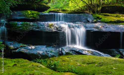 Photo Stands Roe Waterfall in deep forest, where there is an abundance of nature.