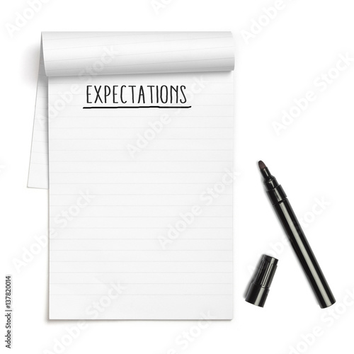 Expectations on note book with black pen Poster Mural XXL