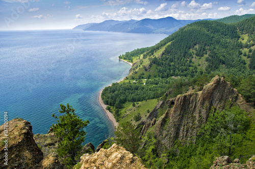 Photo View above big beautiful lake, Baikal lake, Russia