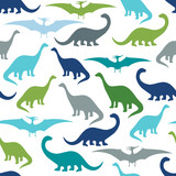 Fototapeta Dinusie - Seamless pattern with cartoon dinosaurs. For cards, party, banners, and children room decoration.