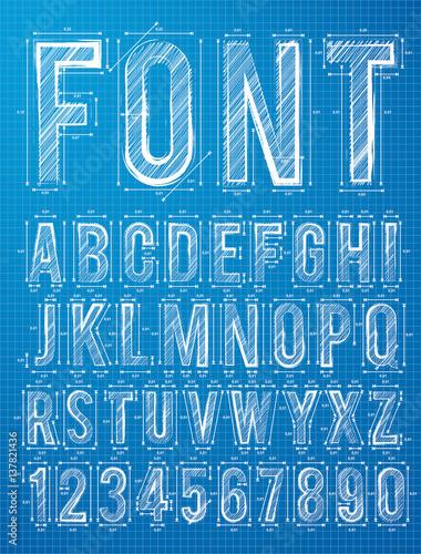 Blueprint Font Alphabet Design In Vector Format Buy This Stock
