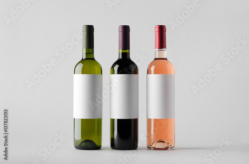 Wine Bottle Mock-Up - Three Bottles. Blank Label