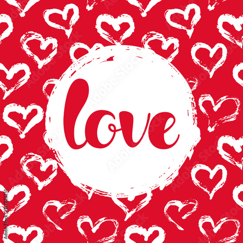 Card with hearts and LOVE lettering Wallpaper Mural