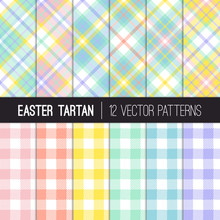 Easter Colors Tartan Plaid And Pixel Gingham Vector Patterns. Pastel Shades Of Pink, Coral Orange, Yellow, Turquoise, Blue And Lavender Purple. Pattern Tile Swatches Included.