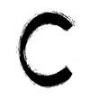 grunge symbol letter C, illustration design element