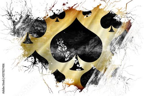Photo  Grunge old Spade card background flag