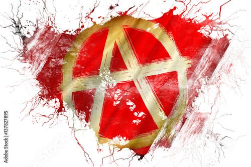 Grunge old Anarchist sign flag Canvas Print