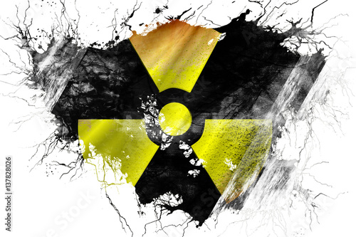 Photo Grunge old Radioactive warning flag