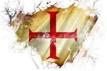 Grunge Old Templar Knight  Flag