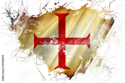 Fototapeta Grunge old Templar knight  flag